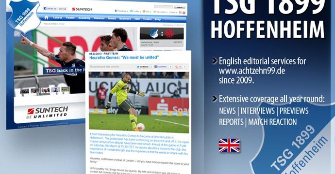 Website Übersetzungen für 1899 Hoffenheim
